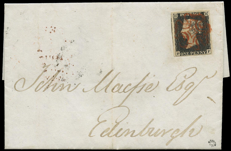 GB 1840  SG2 Pl.4 Cover - Greenock to Edinburgh