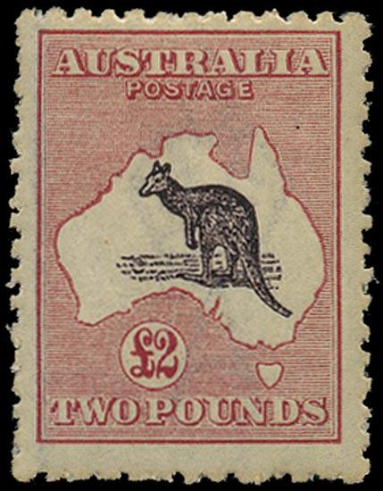 AUSTRALIA 1915  SG45b Mint £2 purple-black and pale rose Kangaroo and Map watermark 6