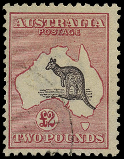 AUSTRALIA 1915  SG45b Used £2 purple-black and pale rose Kangaroo and Map watermark 6