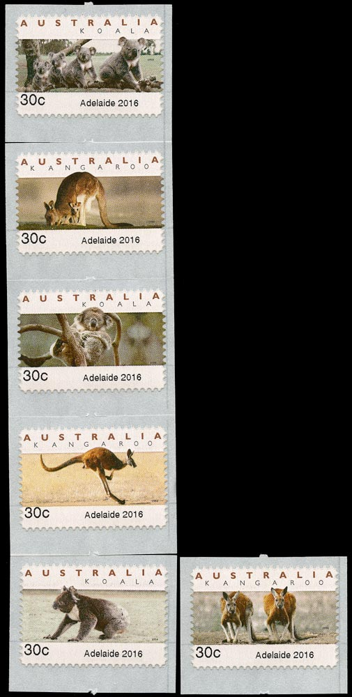AUSTRALIA 2016  SG4492/97 Mint Adelaide 30c emergency counter-printed set of 6