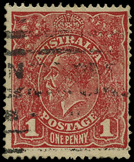 AUSTRALIA 1916  SG47ba Used KGV 1d rose-red rough paper substituted cliche