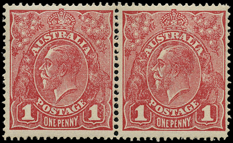 AUSTRALIA 1916  SG47j/c Mint KGV 1d rosine rough paper die II in pair with die I