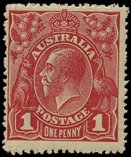 AUSTRALIA 1914  SG21dc Mint KGV 1d pale carmine watermark 5 die II
