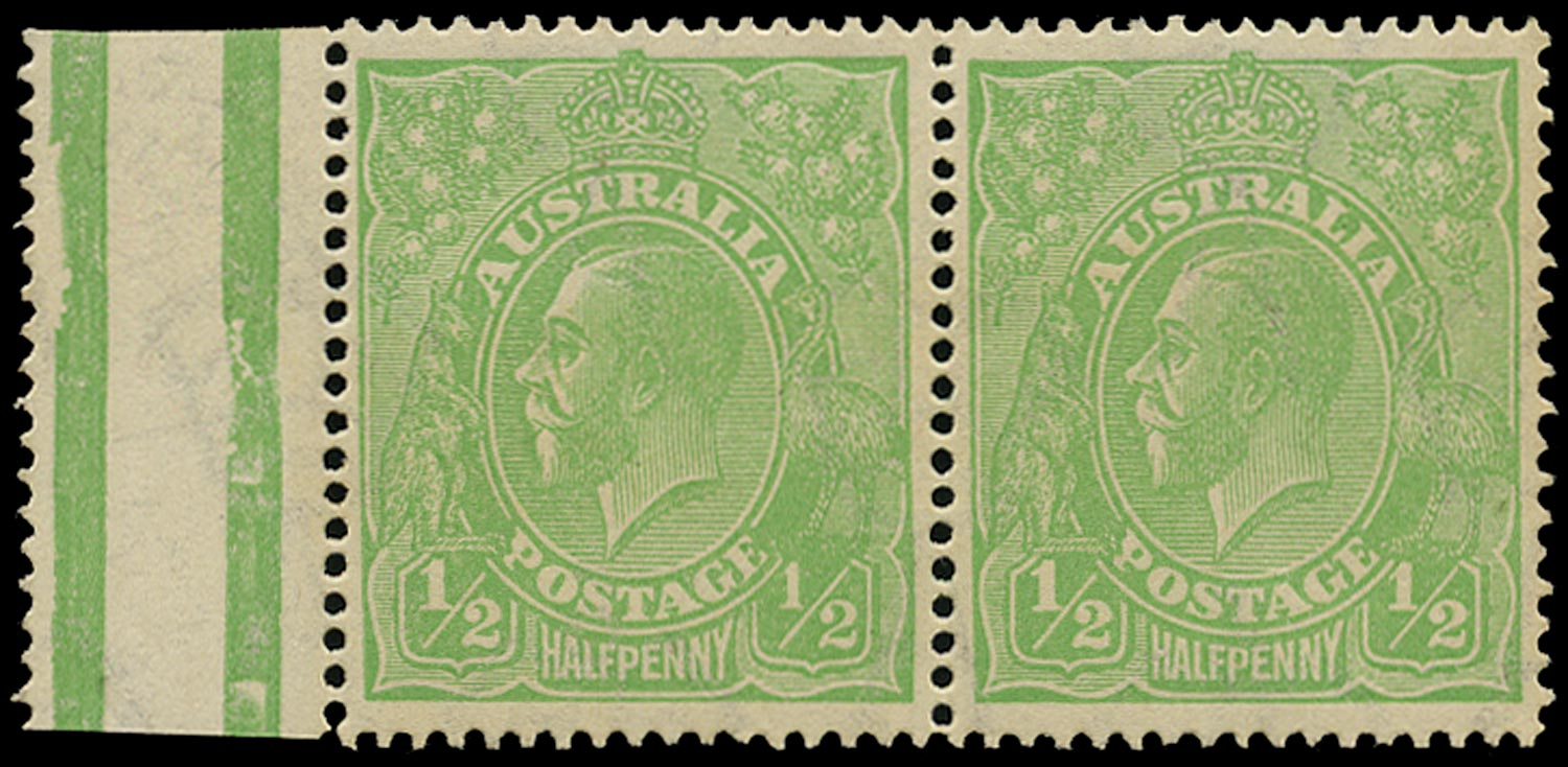 AUSTRALIA 1918  SG48a Mint KGV ½d green watermark 6a variety Thin 1 in fraction