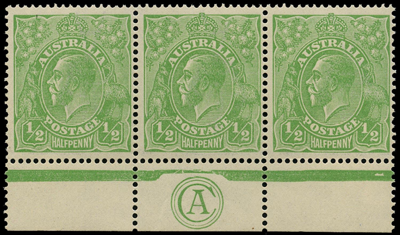 AUSTRALIA 1918  SG48w Mint KGV ½d green watermark 6a variety watermark inverted