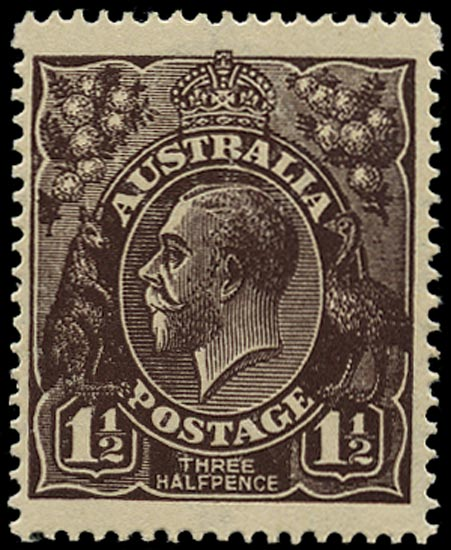 AUSTRALIA 1918  SG51w Mint KGV 1½d black-brown watermark 6a variety watermark inverted