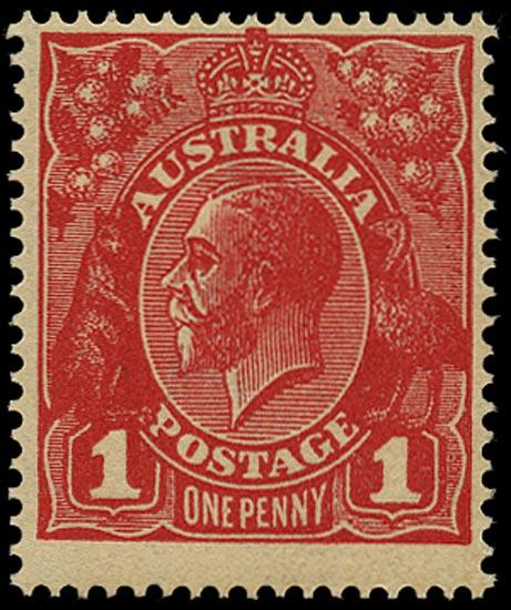 AUSTRALIA 1918  SG53a Mint unmounted KGV 1d rose-carmine die III