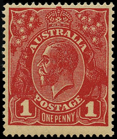 AUSTRALIA 1918  SG53w Mint KGV 1d rose-carmine die III variety watermark inverted