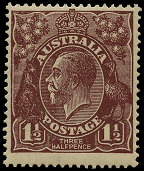 AUSTRALIA 1918  SG59w Mint unmounted KGV 1½d red-brown wmk 5 variety watermark inverted