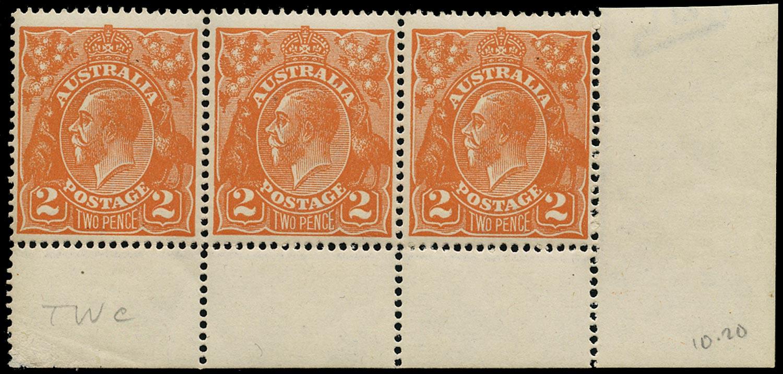 AUSTRALIA 1918  SG62 var Mint unmounted KGV 2d brown-orange wmk 5 variety 'TWC' for 'TWO'