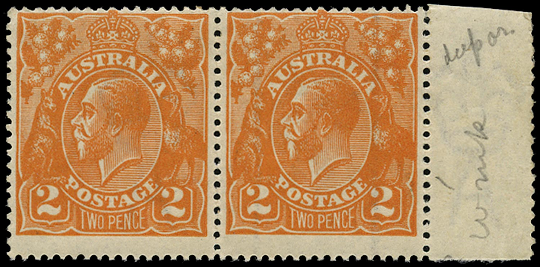 AUSTRALIA 1918  SG62 var Mint KGV 2d brown-orange wmk 5 variety Line watermark only