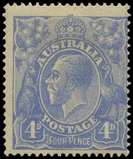 AUSTRALIA 1918  SG65a Mint KGV 4d ultramarine wmk 5 variety FOUR PENCE in thinner letters