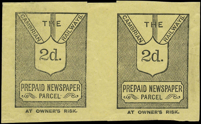 GB 1900 Railway - Cambrian Railways Newspaper Parcel label set