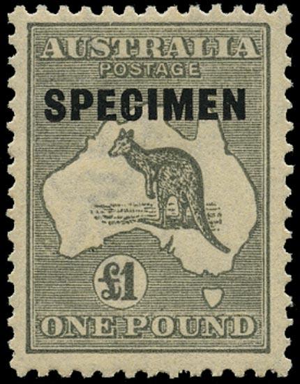 AUSTRALIA 1923  SG75s Specimen £1 grey Kangaroo and Map with type D overprint