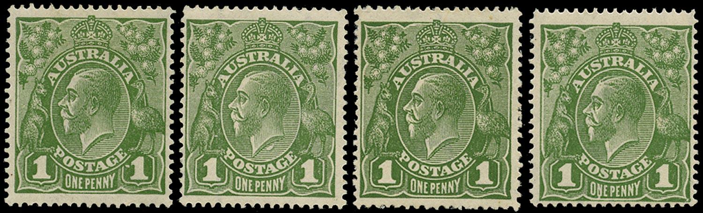 AUSTRALIA 1924  SG76a/c/d/var Mint KGV 1d sage-green x4 varieties watermark 5