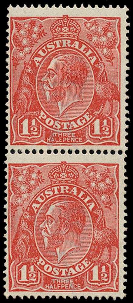 AUSTRALIA 1924  SG77b/c Mint KGV 1½d scarlet variety HALEPENCE and Thin RAL