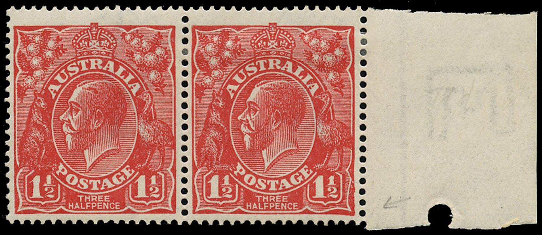 AUSTRALIA 1924  SG77 var Mint KGV 1½d scarlet variety Retouched value in left tablet