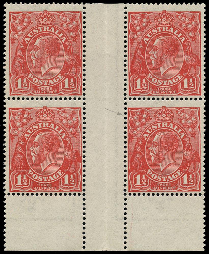 AUSTRALIA 1924  SG77w Mint KGV 1½d scarlet Mullett imprint block of 4 variety watermark inverted