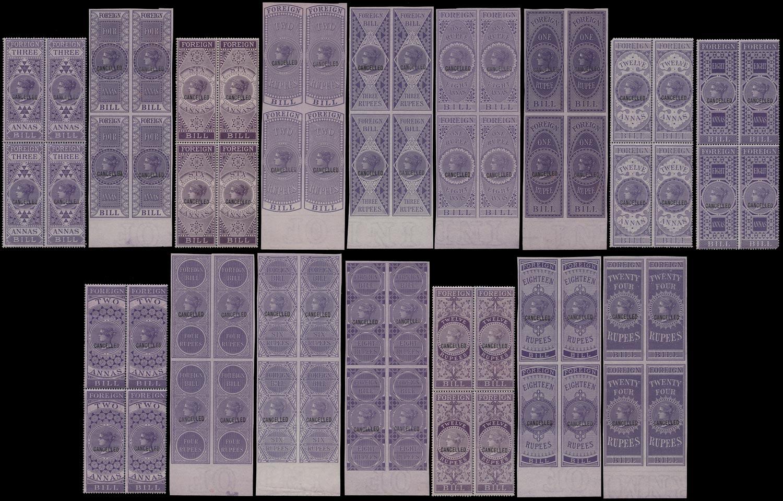 INDIA 1861 Revenue Colour Standards Set in blocks.