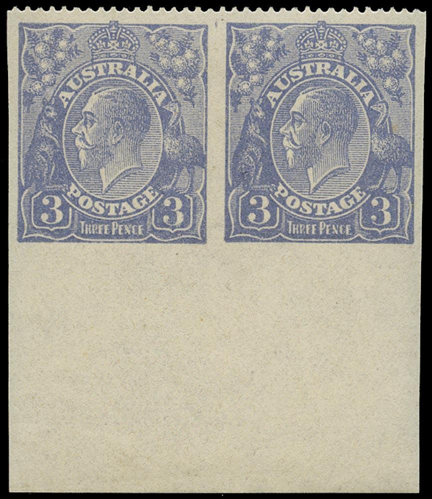 AUSTRALIA 1924  SG79a Mint KGV 3d dull ultramarine watermark 5 ERROR IMPERFORATE ON THREE SIDES