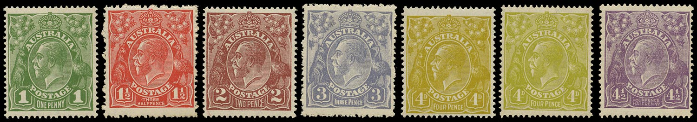 AUSTRALIA 1924  SG76/81 Mint KGV watermark 5 'set' to 4½d violet