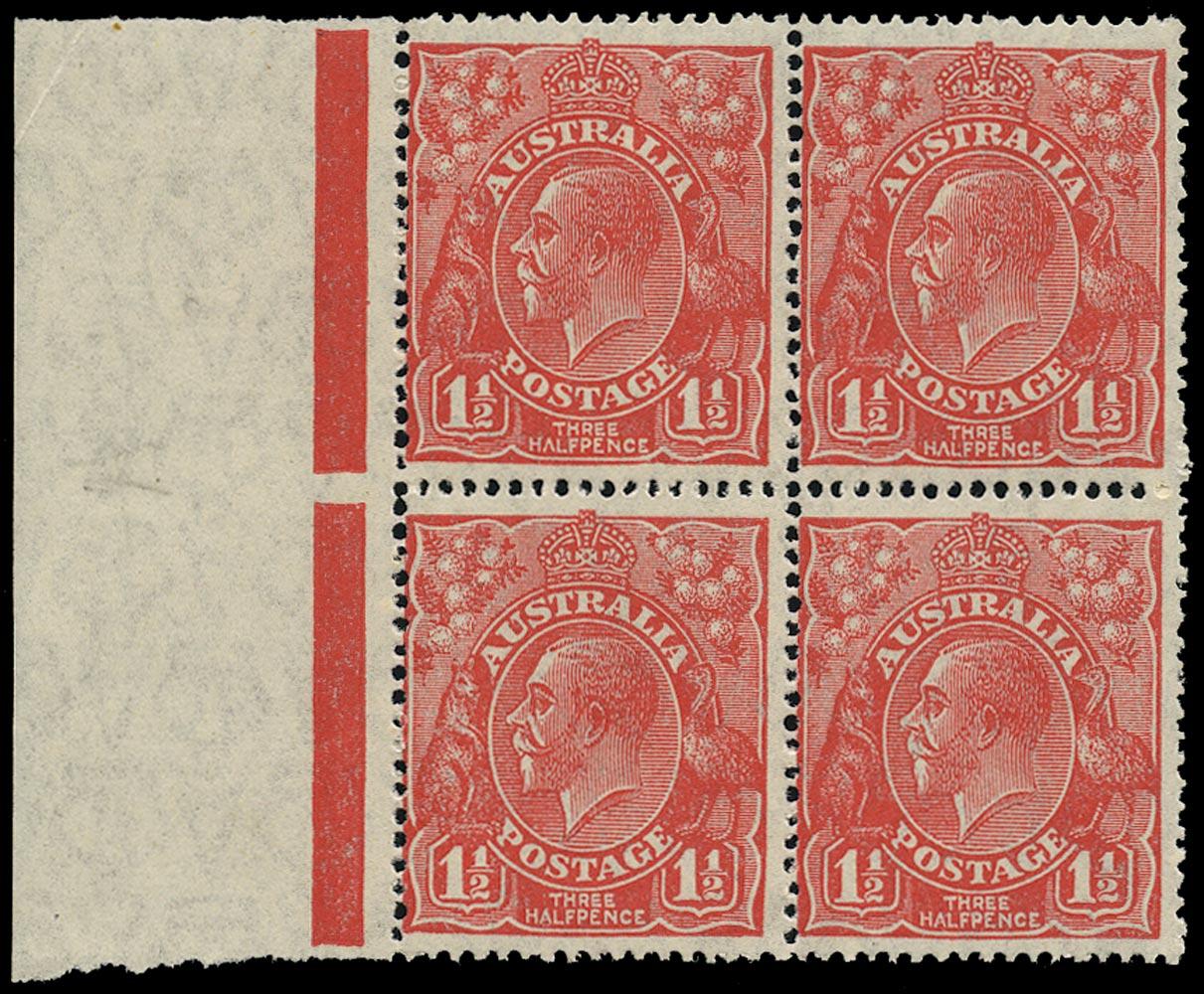 AUSTRALIA 1926  SG87w Mint KGV 1½d scarlet small multiple watermark variety watermark inverted
