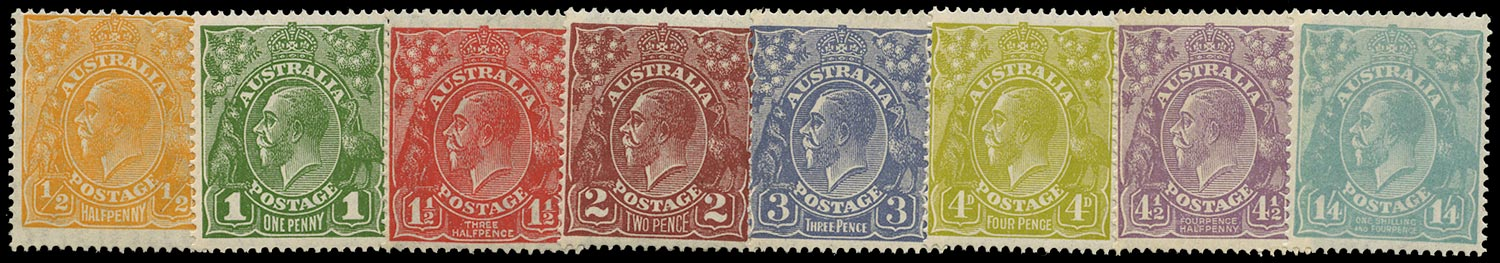 AUSTRALIA 1926  SG85/93 Mint KGV set of 8 to 1s4d small multiple watermark perf 14