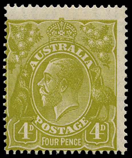 AUSTRALIA 1926  SG91 var Mint KGV 4d yellow-olive small multiple watermark perf 14 variety White flaw on lowest bloom of left wattles