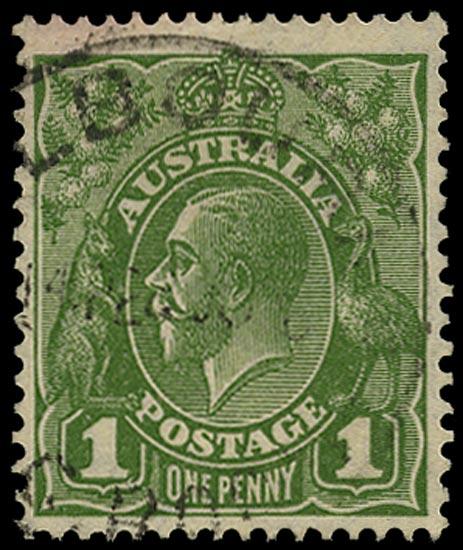 AUSTRALIA 1926  SG95b Used KGV 1d sage-green small multiple watermark perf 13½x12½ die II