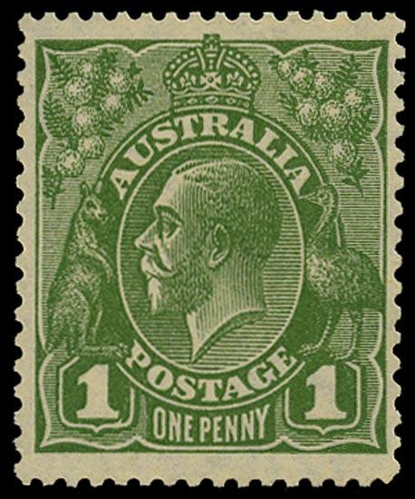AUSTRALIA 1926  SG95bw Mint unmounted KGV 1d sage-green small multiple watermark perf 13½x12½ die II variety watermark inverted