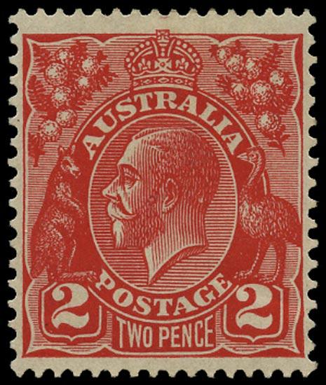 AUSTRALIA 1926  SG99ab Mint KGV 2d golden scarlet die III error No watermark