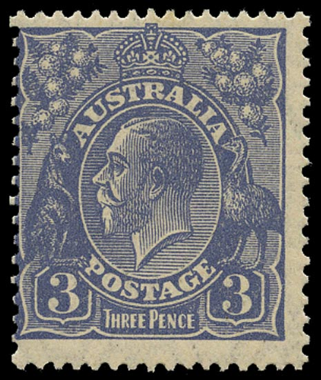 AUSTRALIA 1926  SG100aw Mint unmounted KGV 3d dull ultramarine watermark 7 perf 13½x12½ variety watermark inverted