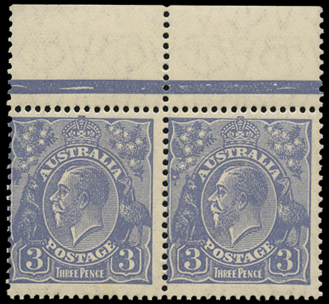 AUSTRALIA 1926  SG100aw Mint unmounted KGV 3d dull ultramarine watermark 7 perf 13½x12½ variety watermark inverted types A and B se-tenant