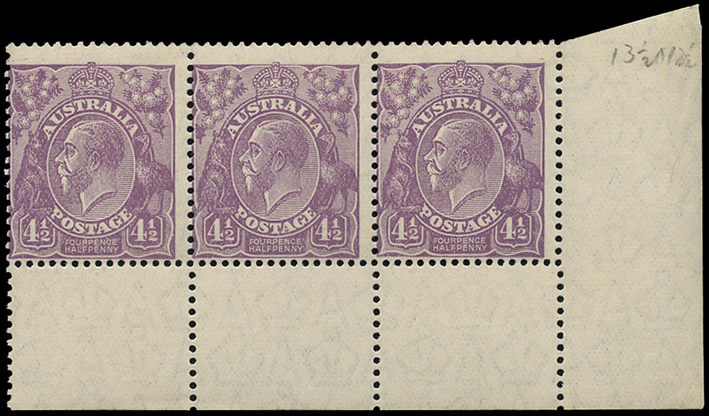 AUSTRALIA 1926  SG103 Mint unmounted KGV 4½d violet die I watermark 7 perf 13½x12½