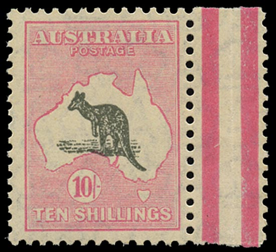 AUSTRALIA 1929  SG112 Mint unmounted 10s grey and pink Kangaroo and Map small multiple watermark