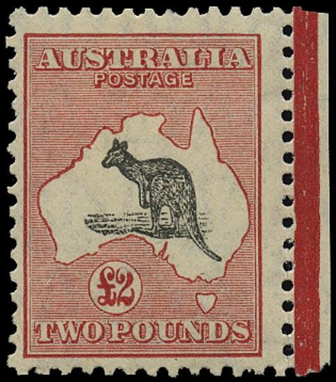 AUSTRALIA 1929  SG114 Mint £2 black and rose Kangaroo and Map small multiple watermark