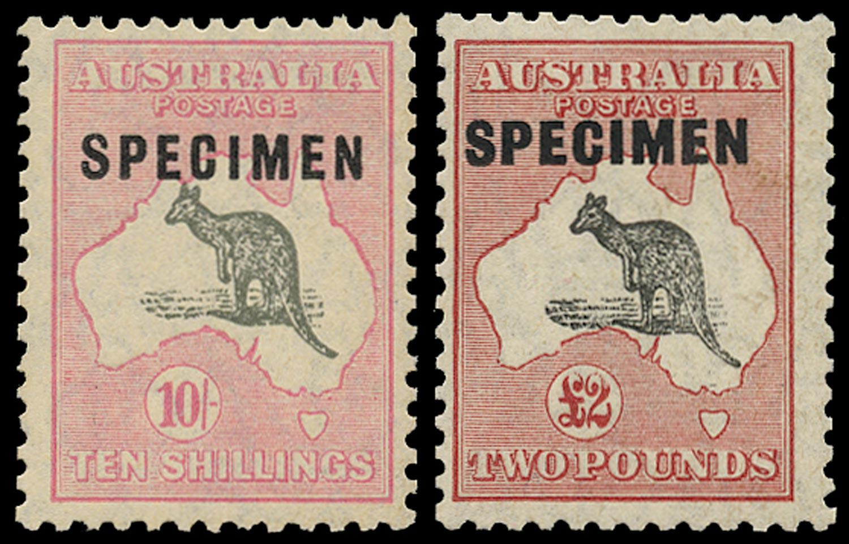 AUSTRALIA 1929  SG112s/14s Specimen 10s, £2 Kangaroo and Map small multiple watermark unmounted mint