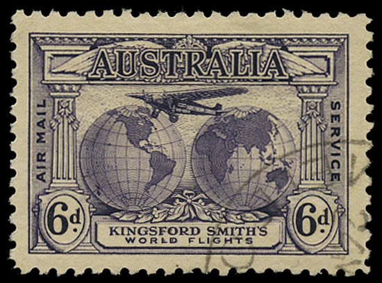AUSTRALIA 1931  SG123a Used Kingford Smith 6d airmail with re-entry