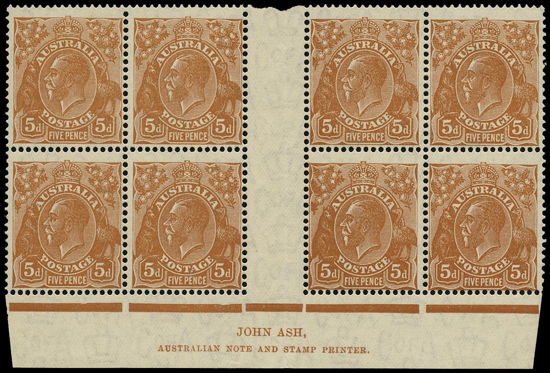 AUSTRALIA 1931  SG130 var Mint KGV 5d orange-brown watermark C of A imprint block
