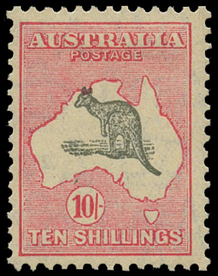 AUSTRALIA 1931  SG136 Mint 10s grey and pink Kangaroo and Map watermark C of A