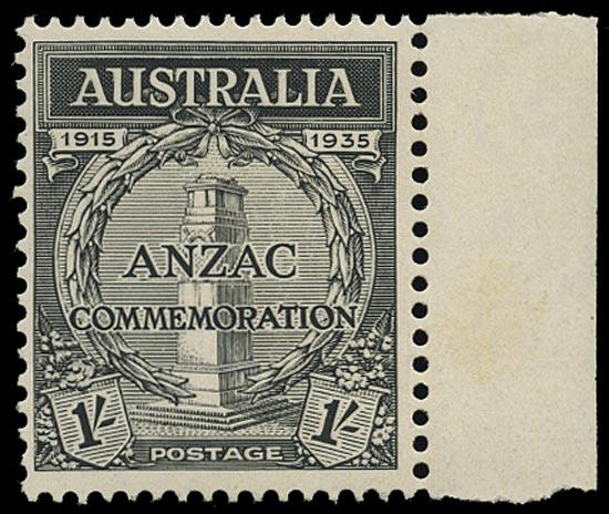 AUSTRALIA 1935  SG155 Proof ANZAC Gallipoli Landing 1s black perf 13½x12½ unmounted mint