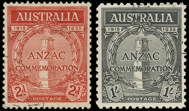 AUSTRALIA 1935  SG154/5 Used ANZAC 2d scarlet, 1s black c.t.o.