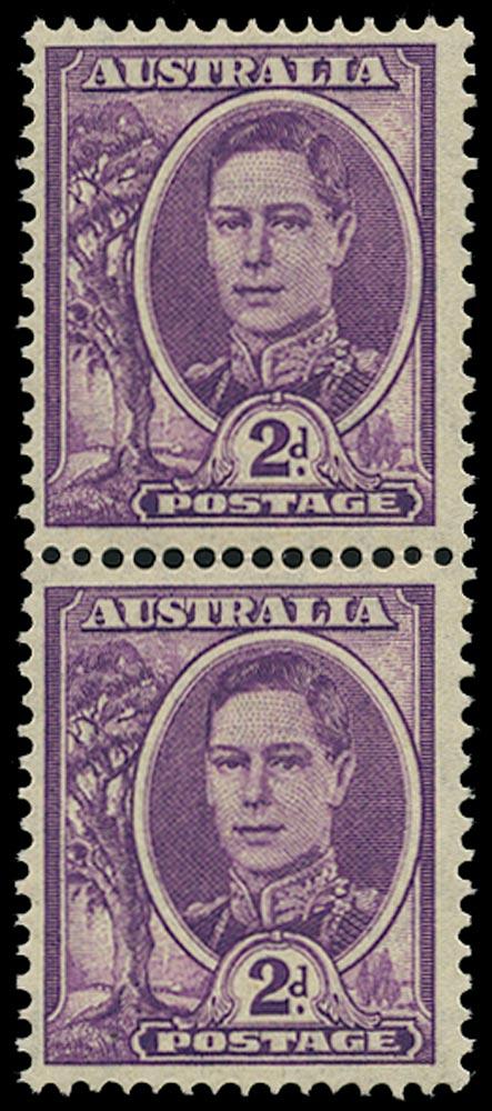 AUSTRALIA 1942  SG205b Mint unmounted KGVI 2d bright purple vertical coil pair