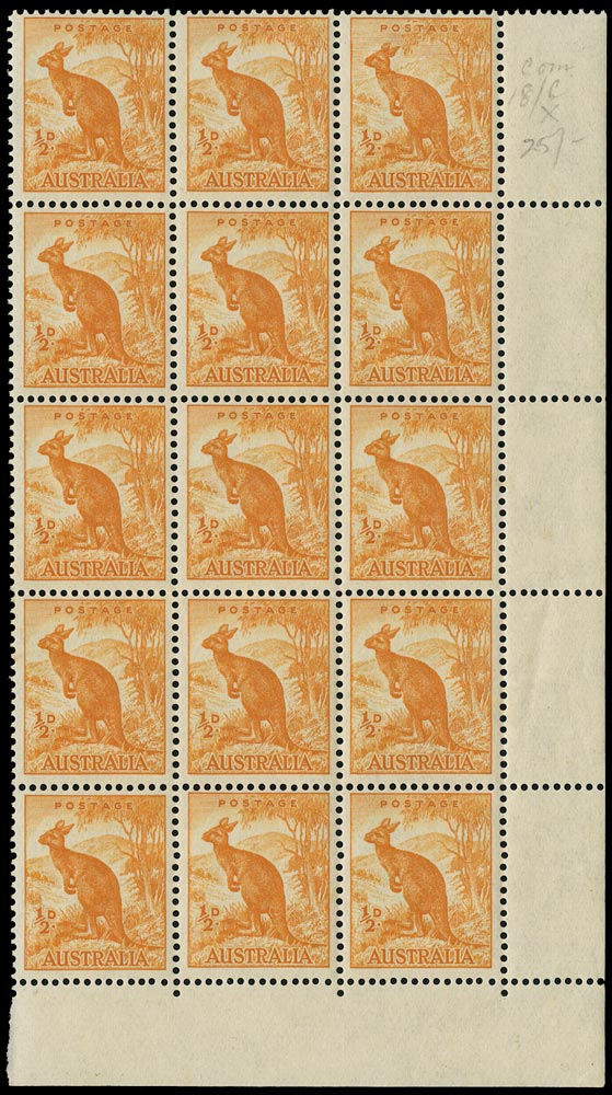 AUSTRALIA 1948  SG228b Mint unmounted ½d orange Kangaroo no watermark with Sky retouch
