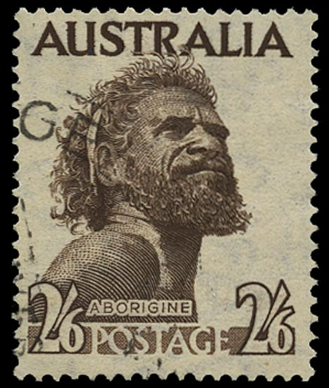 AUSTRALIA 1952  SG253aw Used 2s6d deep brown variety watermark Crown to left of C of A
