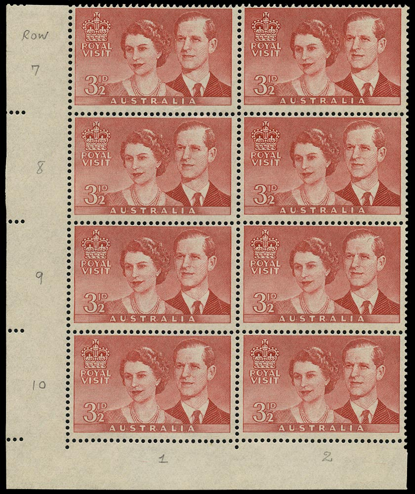 AUSTRALIA 1954  SG272a Mint unmounted Royal Visit 3½d with re-entry