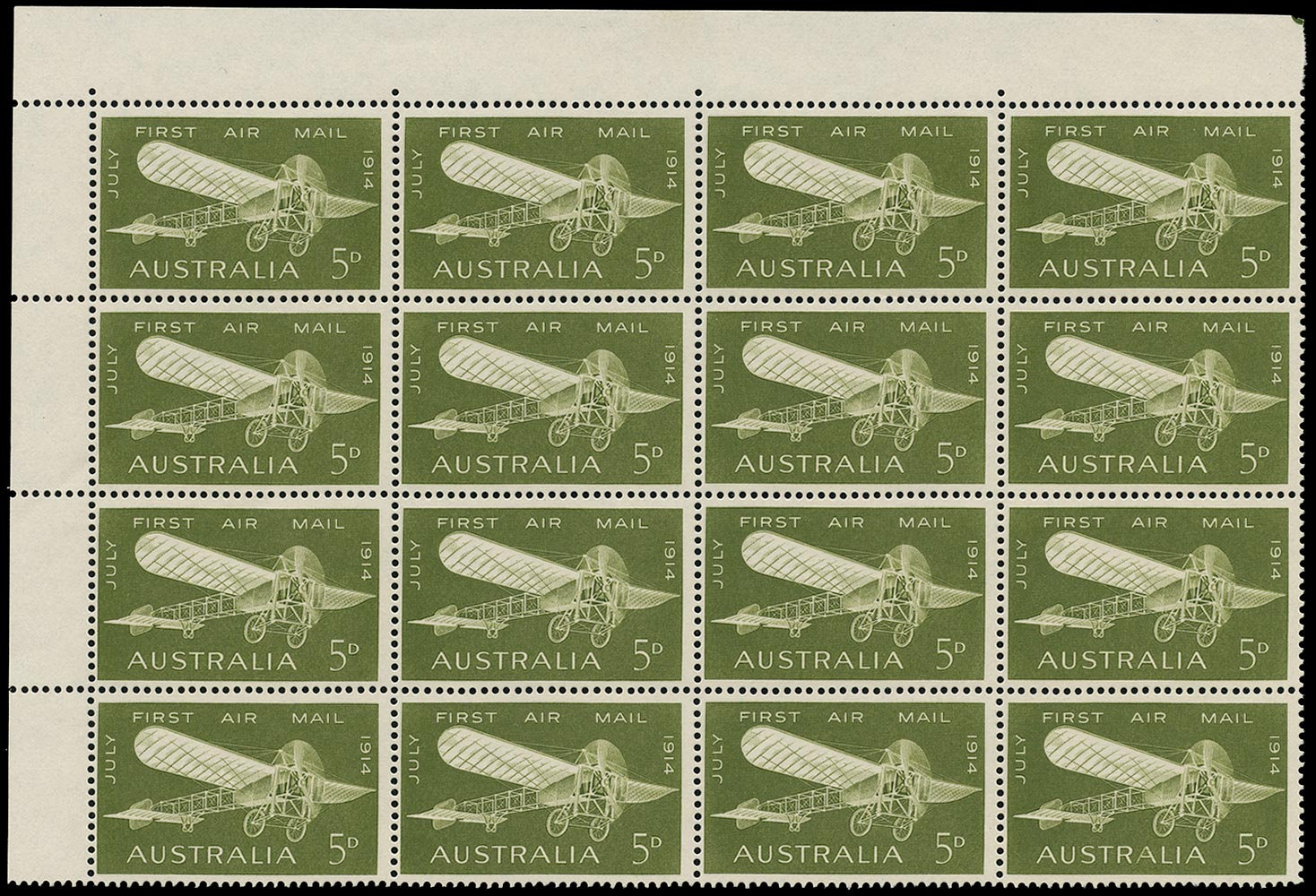 AUSTRALIA 1964  SG370a Mint unmounted First Australian Airmail 5d with re-entry to second 'A'