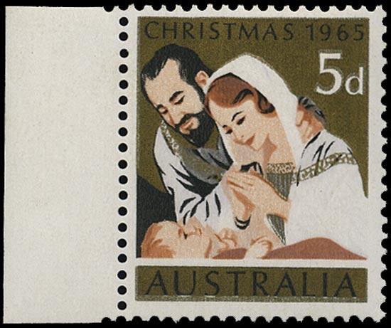 AUSTRALIA 1965  SG381b Mint unmounted Christmas 5d error blue omitted