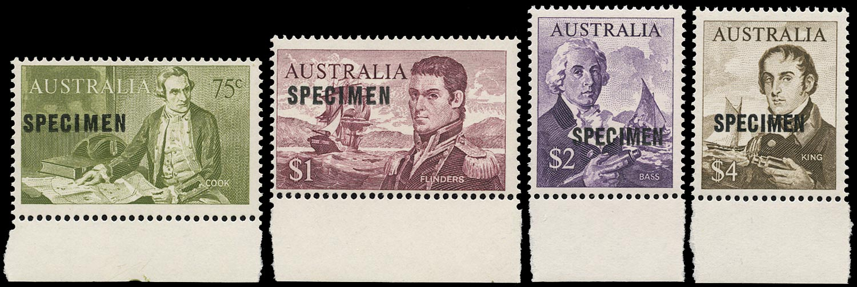AUSTRALIA 1966  SG400s/03s Specimen Navigators set of 4 to $4 unmounted mint