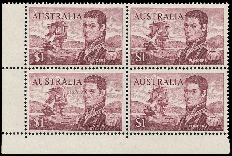 AUSTRALIA 1966  SG401a Mint unmounted Navigators $1 Flinders perf 14 variety Recut lines in sky